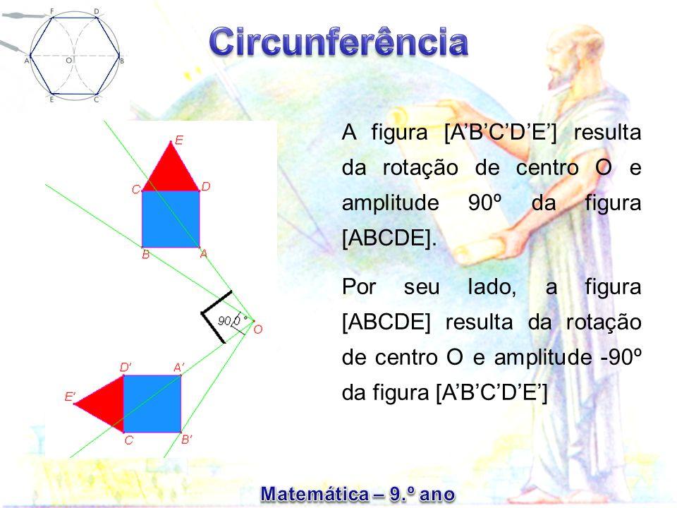 A figura [A'B'C'D'E'] resulta da rotação de centro O e amplitude 90º da figura [ABCDE].